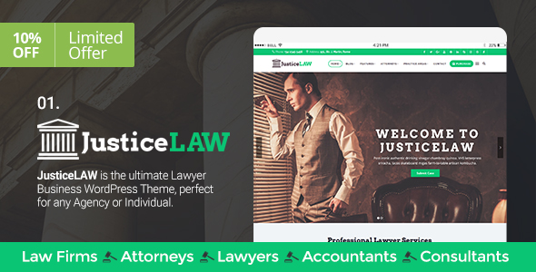 Lawyers/Law Firms, Attorneys, Consulting, Accounting & Business – JusticeLAW Theme