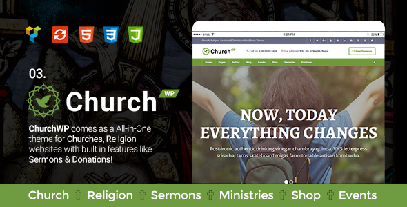 Church, Religion, Sermons & Donations WordPress Theme – ChurchWP