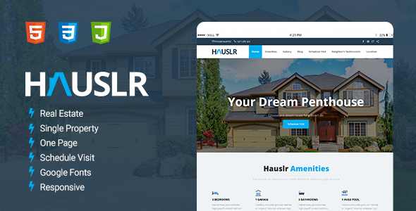 Hauslr – Single Property Modern HTML Template